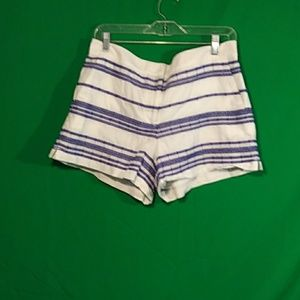 LOFT M cotton white blue stripe shorts